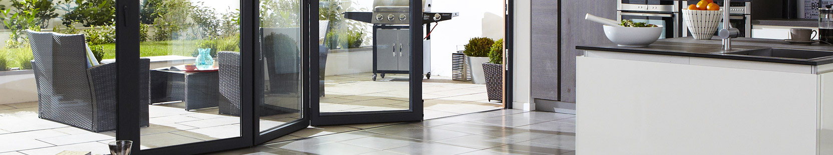 Sliding doors with an access leaf
