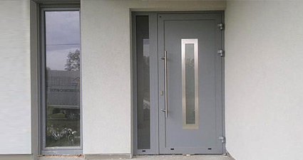 Aluminium door installed as a front door