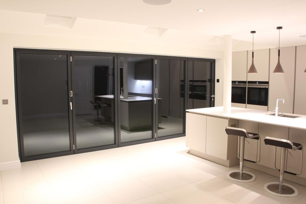 5 Panel Bifold Door in Grey Aluminium