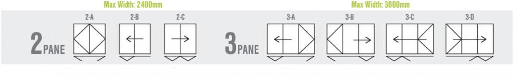 2-3 pane bi-folding door configuration