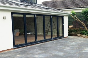 6 panel bi-folding door installed on a home extension