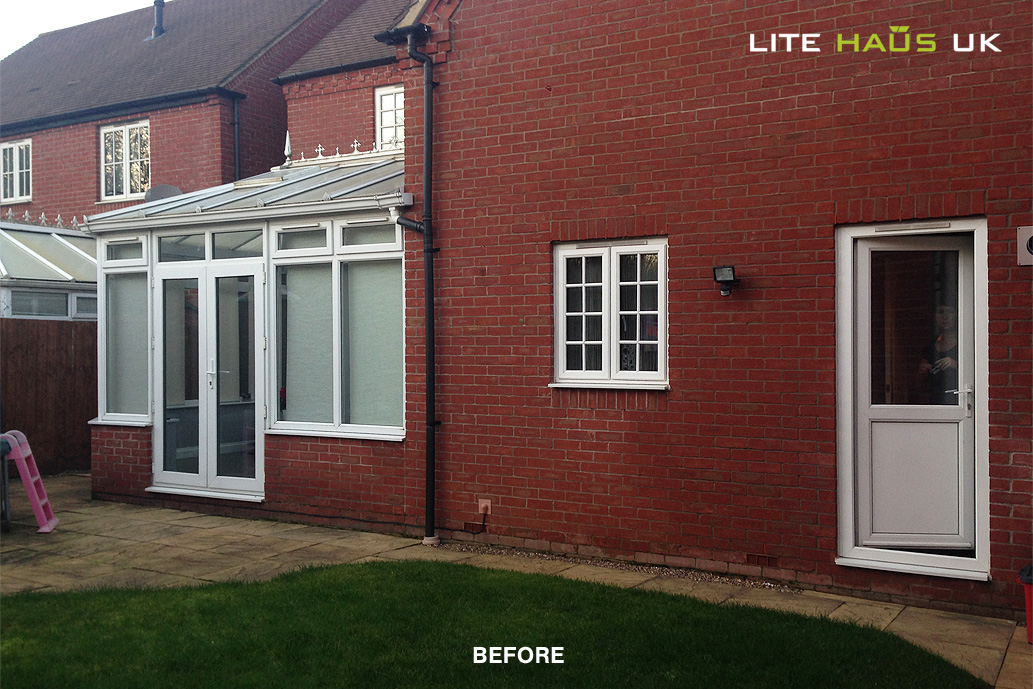 Before a bifold door installation with traditional patio doors