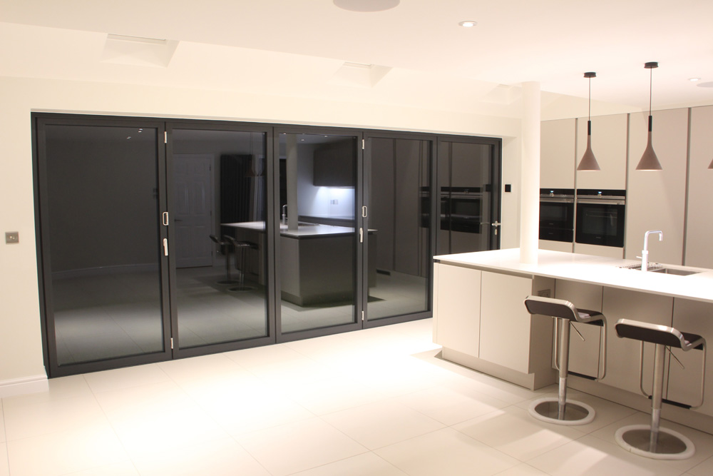 5 Panel Bifold Door in Grey Aluminium