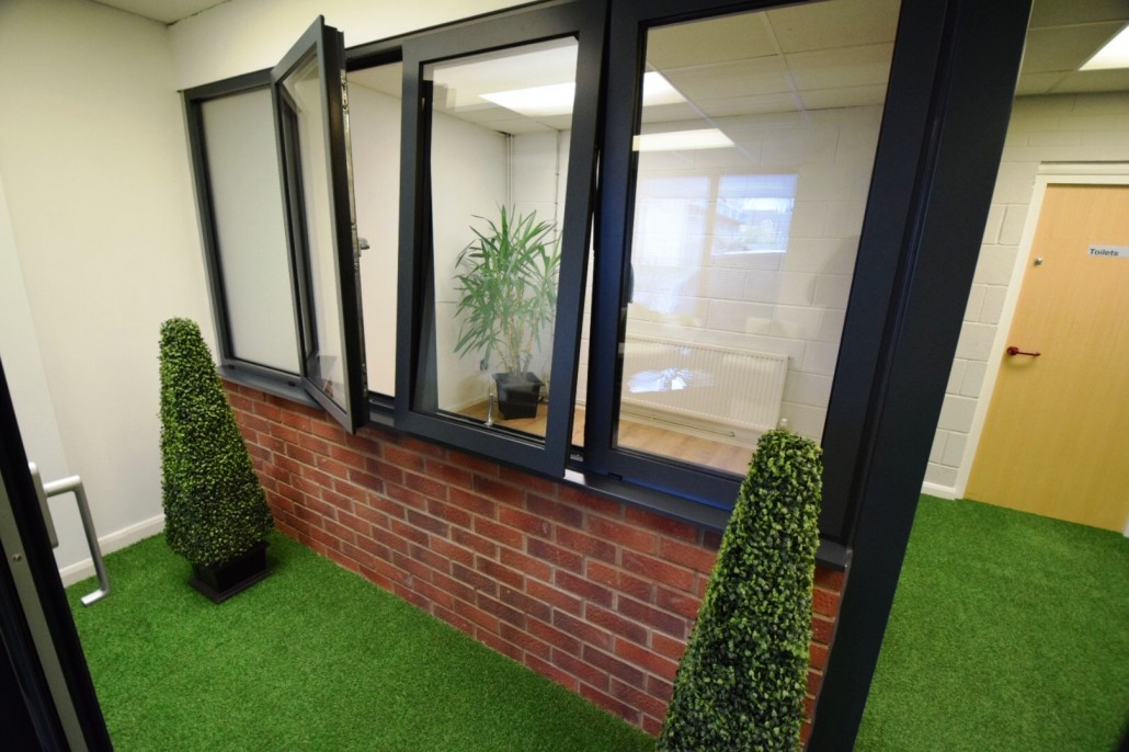 Aluminium windows in the Lite Haus UK showroom in Coventry