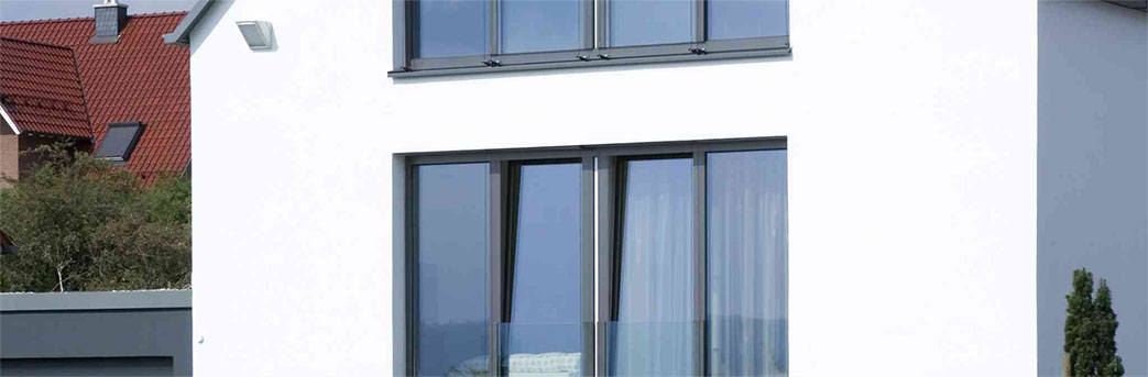 Black frame aluminium windows installation