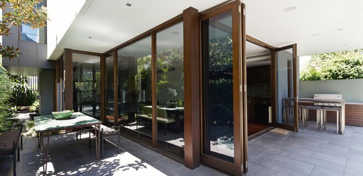 bifold doors opening tpo rear courtyard