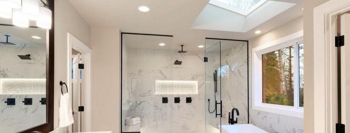 skylight above the bathtub