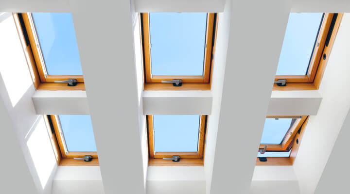 group of the six skylights windows